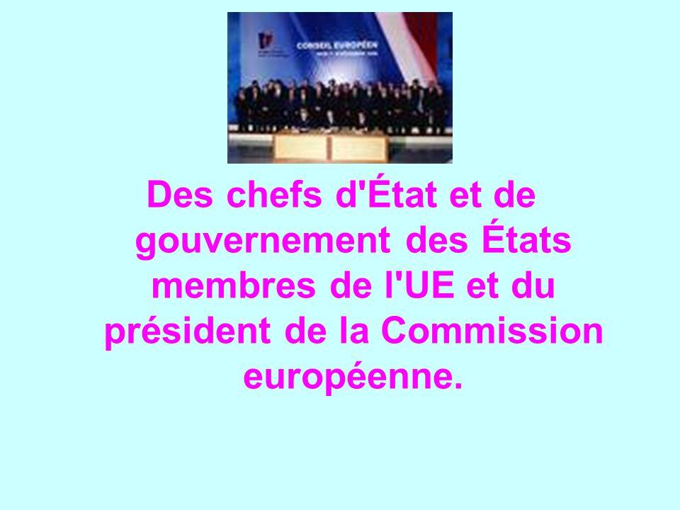 Des chefs d'État et de gouvernement des États membres de l'UE et du président de la Commission européenne.