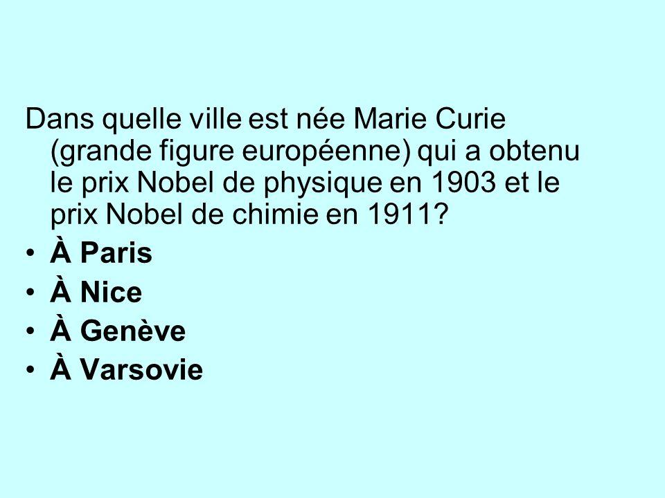 Dans quelle ville est née Marie Curie (grande figure européenne) qui a obtenu le prix Nobel de physique en 1903 et le prix Nobel de chimie en 1911.