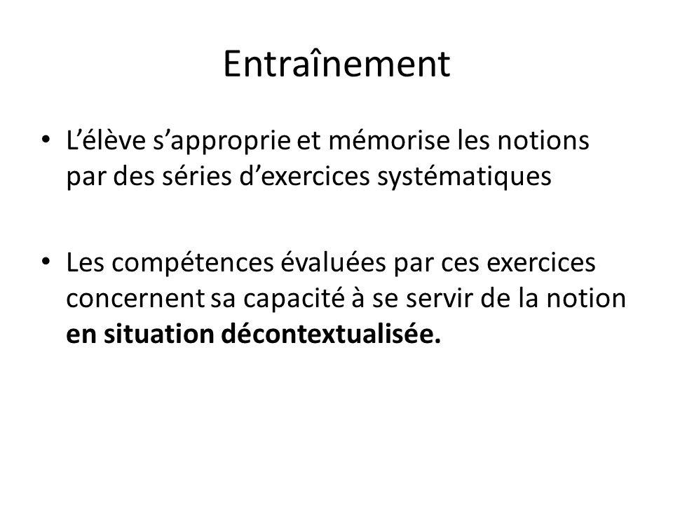Entraînement Lélève sapproprie et mémorise les notions par des séries dexercices systématiques Les compétences évaluées par ces exercices concernent s