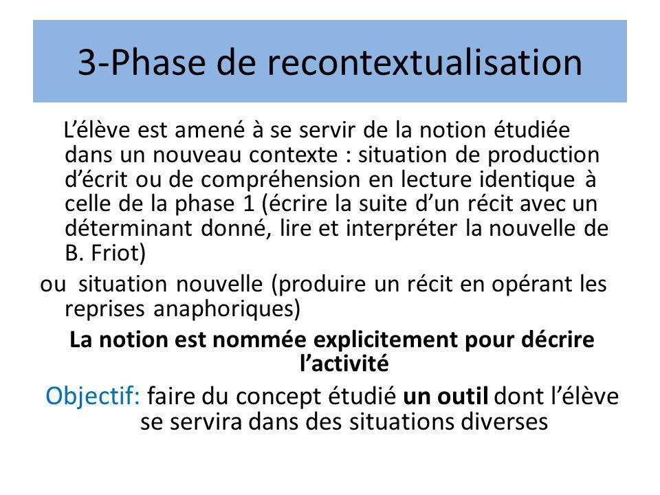 3-Phase de recontextualisation Lélève est amené à se servir de la notion étudiée dans un nouveau contexte : situation de production décrit ou de compr
