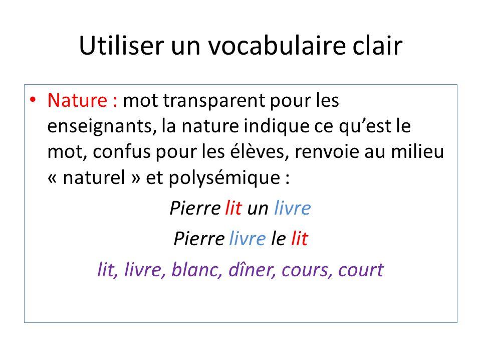 Utiliser un vocabulaire clair Nature : mot transparent pour les enseignants, la nature indique ce quest le mot, confus pour les élèves, renvoie au mil
