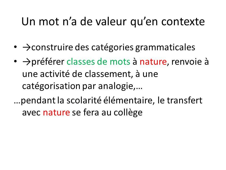 Un mot na de valeur quen contexte construire des catégories grammaticales préférer classes de mots à nature, renvoie à une activité de classement, à u
