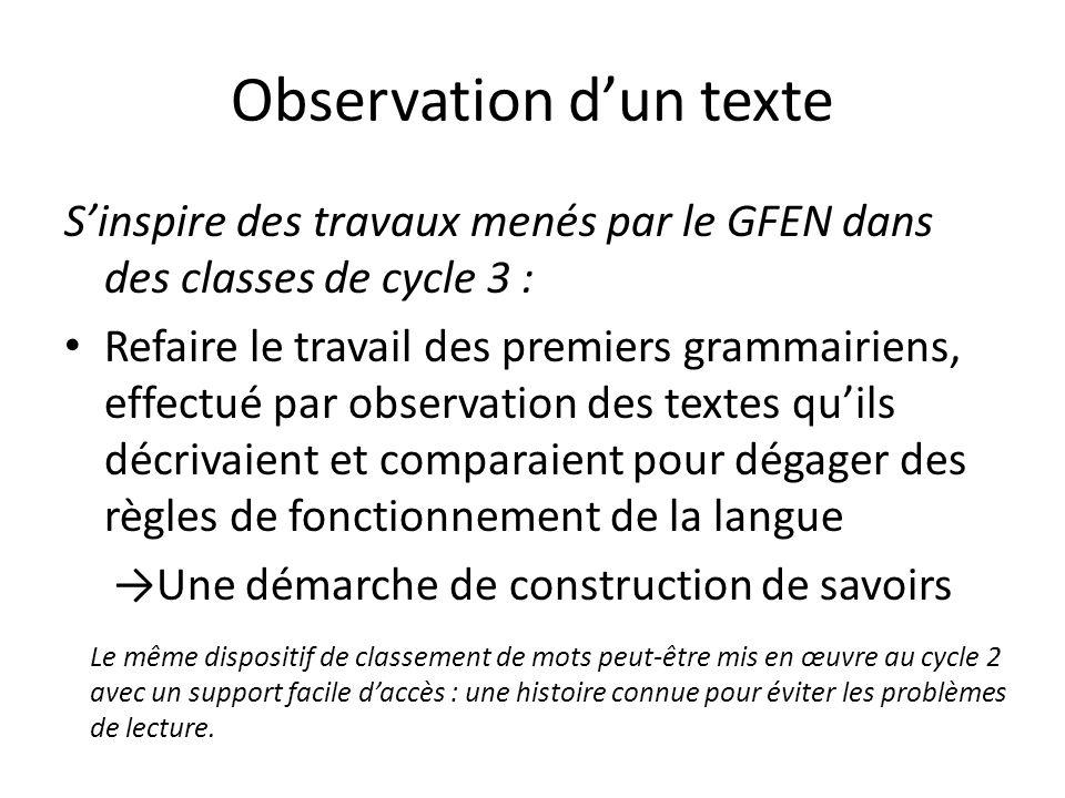 Observation dun texte Sinspire des travaux menés par le GFEN dans des classes de cycle 3 : Refaire le travail des premiers grammairiens, effectué par