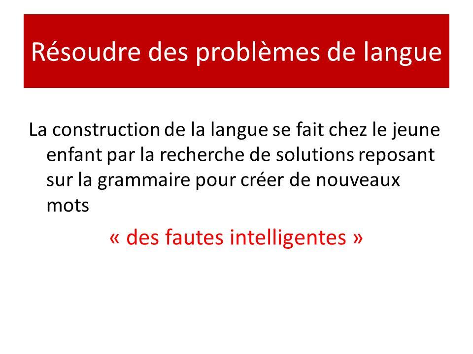 Résoudre des problèmes de langue La construction de la langue se fait chez le jeune enfant par la recherche de solutions reposant sur la grammaire pou