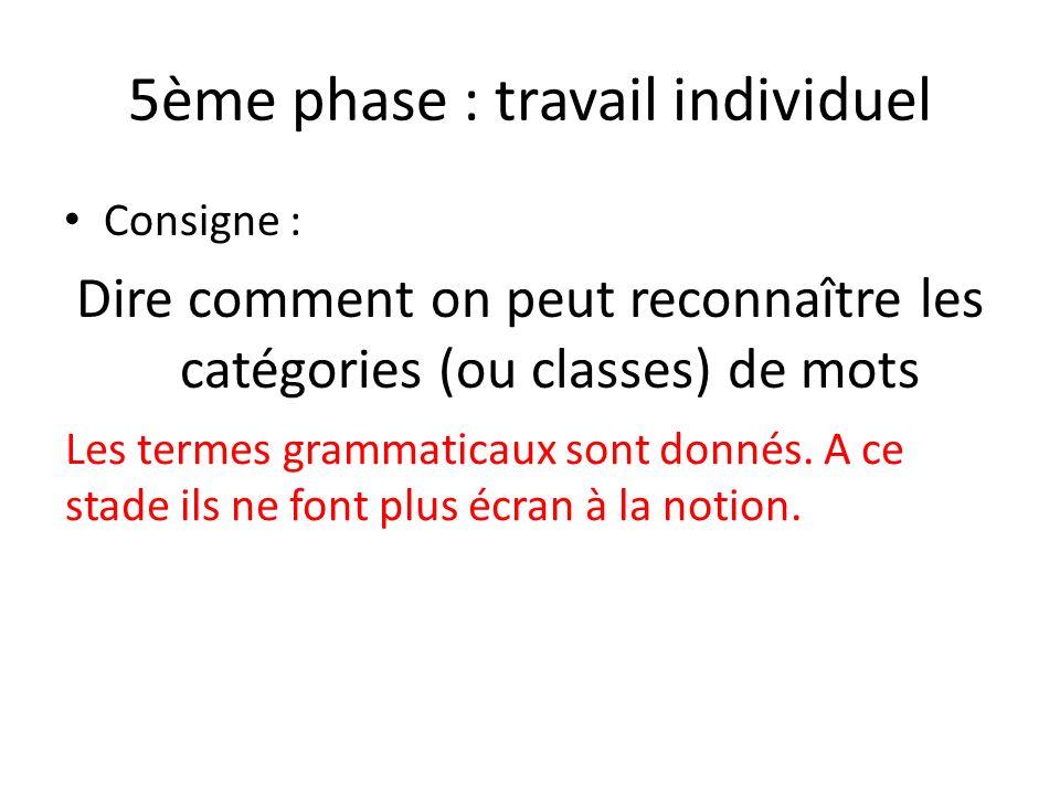 5ème phase : travail individuel Consigne : Dire comment on peut reconnaître les catégories (ou classes) de mots Les termes grammaticaux sont donnés. A