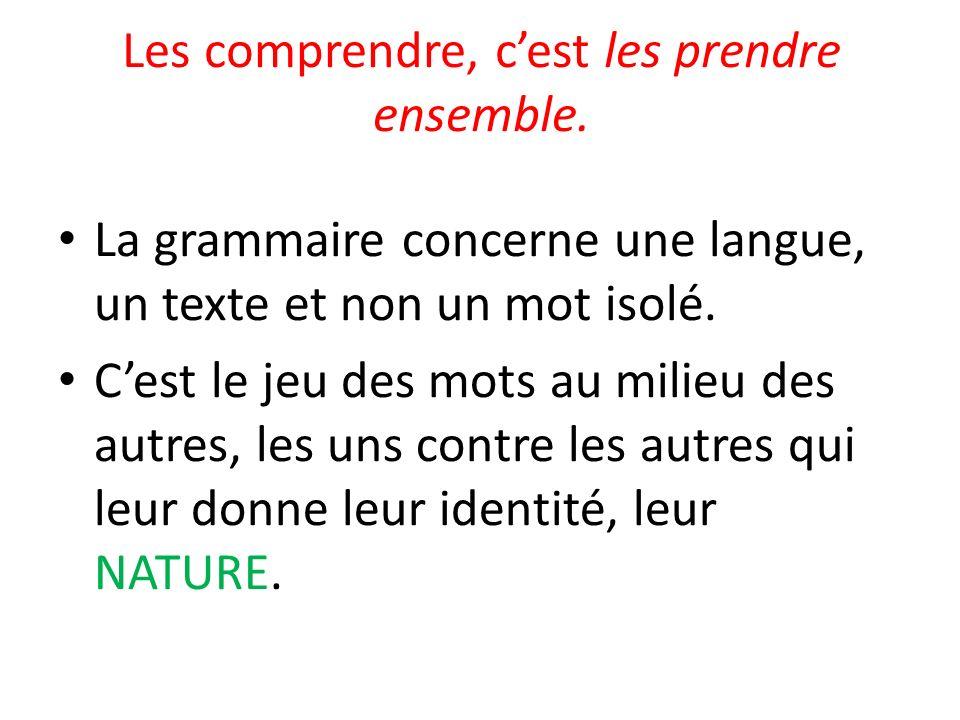 Les comprendre, cest les prendre ensemble. La grammaire concerne une langue, un texte et non un mot isolé. Cest le jeu des mots au milieu des autres,
