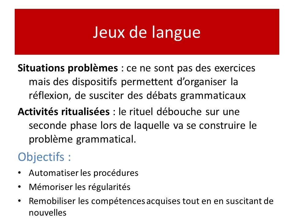 Jeux de langue Situations problèmes : ce ne sont pas des exercices mais des dispositifs permettent dorganiser la réflexion, de susciter des débats gra