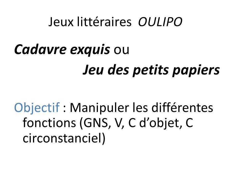 Jeux littéraires OULIPO Cadavre exquis ou Jeu des petits papiers Objectif : Manipuler les différentes fonctions (GNS, V, C dobjet, C circonstanciel)