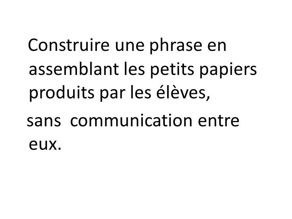 Construire une phrase en assemblant les petits papiers produits par les élèves, sans communication entre eux.