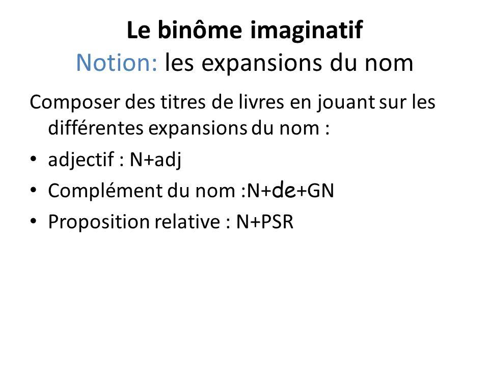 Le binôme imaginatif Notion: les expansions du nom Composer des titres de livres en jouant sur les différentes expansions du nom : adjectif : N+adj Co
