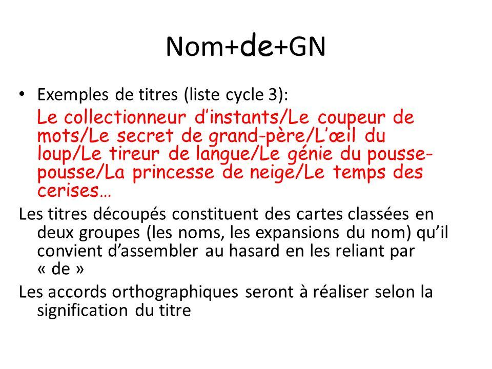 Nom+ de +GN Exemples de titres (liste cycle 3): Le collectionneur dinstants/Le coupeur de mots/Le secret de grand-père/Lœil du loup/Le tireur de langu