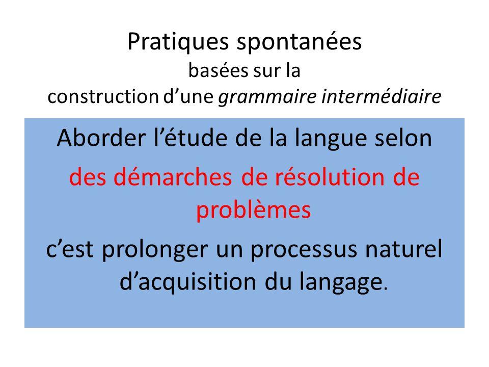 Pratiques spontanées basées sur la construction dune grammaire intermédiaire Aborder létude de la langue selon des démarches de résolution de problème