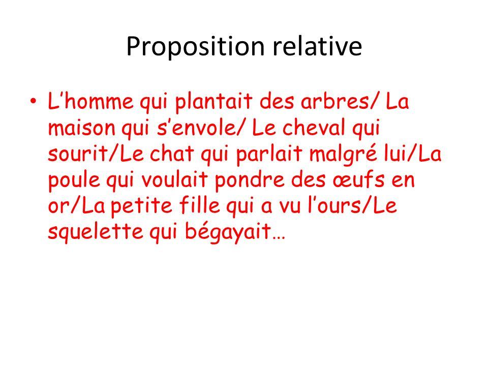 Proposition relative Lhomme qui plantait des arbres/ La maison qui senvole/ Le cheval qui sourit/Le chat qui parlait malgré lui/La poule qui voulait p