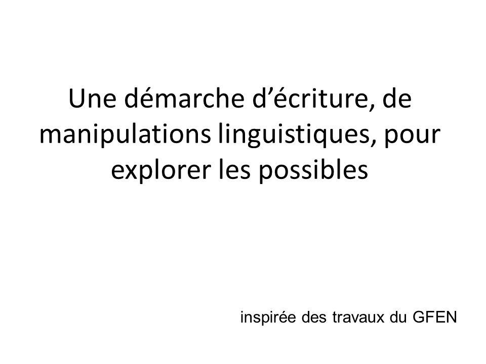 Une démarche décriture, de manipulations linguistiques, pour explorer les possibles inspirée des travaux du GFEN
