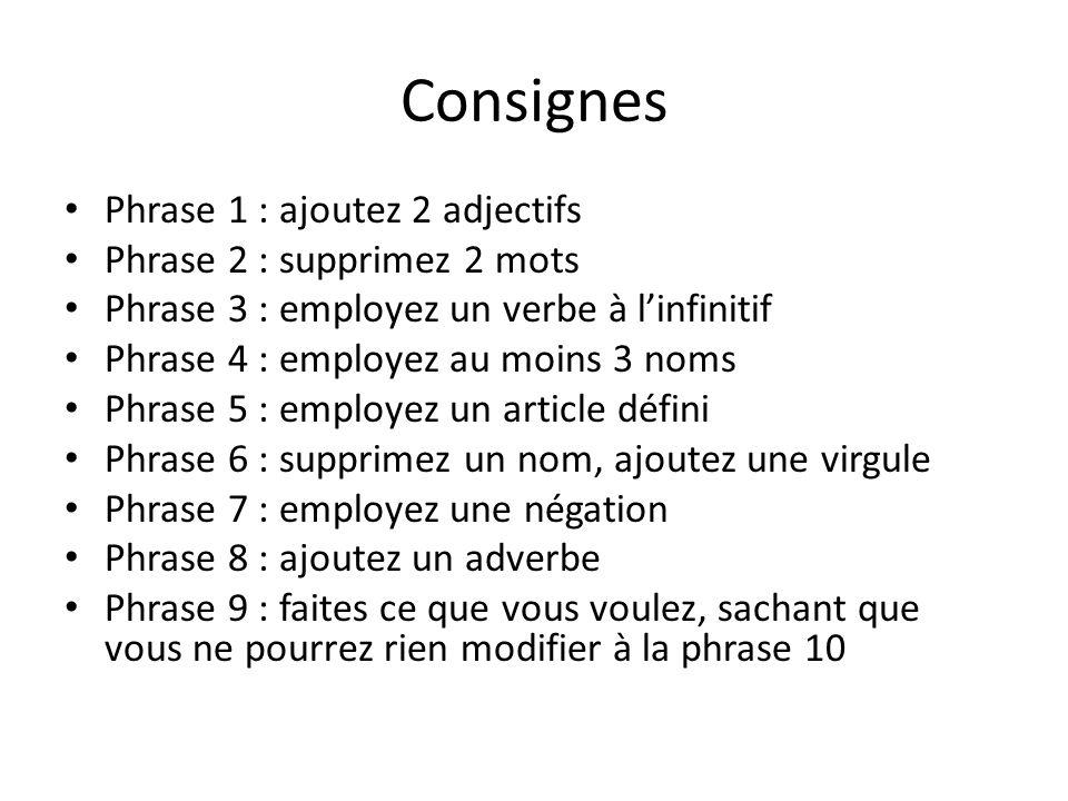Consignes Phrase 1 : ajoutez 2 adjectifs Phrase 2 : supprimez 2 mots Phrase 3 : employez un verbe à linfinitif Phrase 4 : employez au moins 3 noms Phr