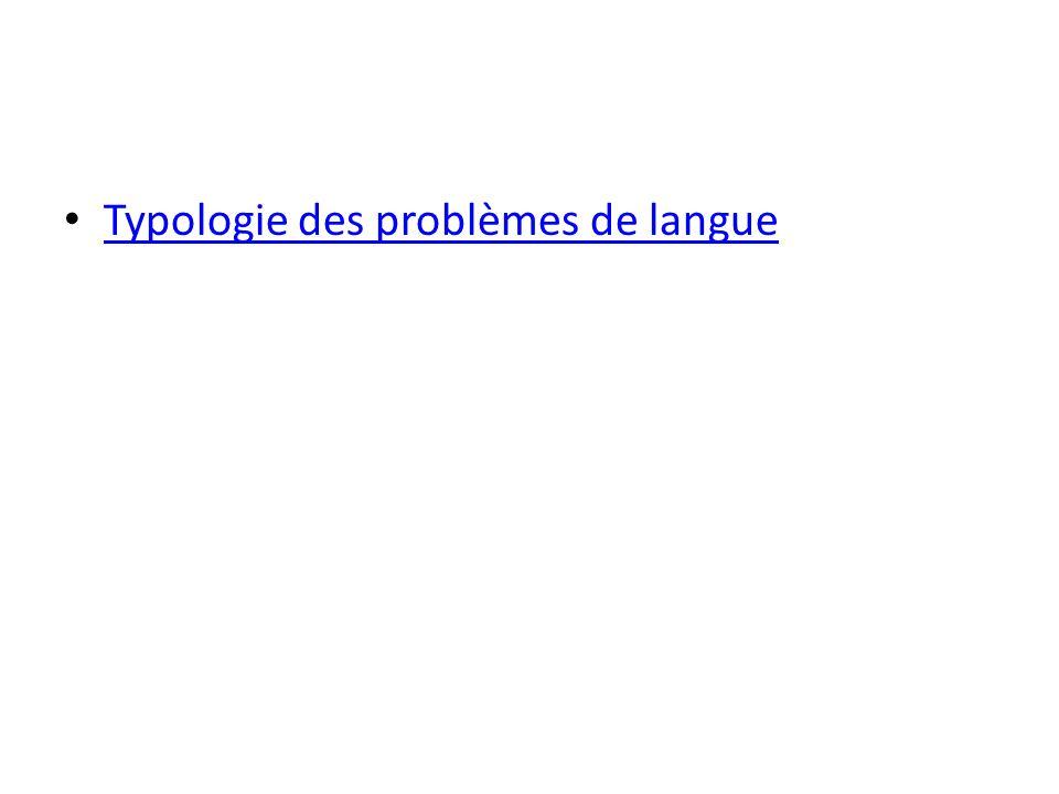 Typologie des problèmes de langue