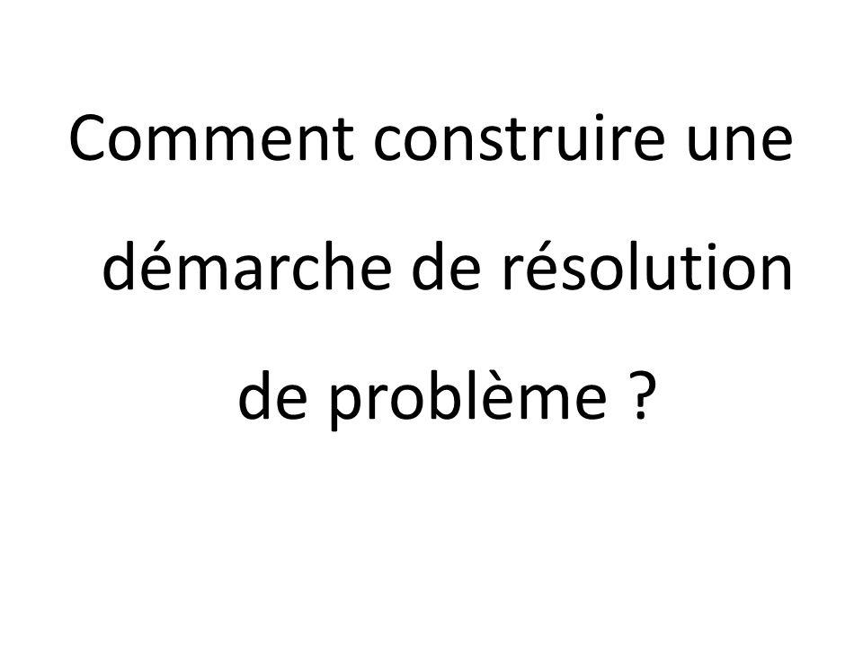 Comment construire une démarche de résolution de problème ?