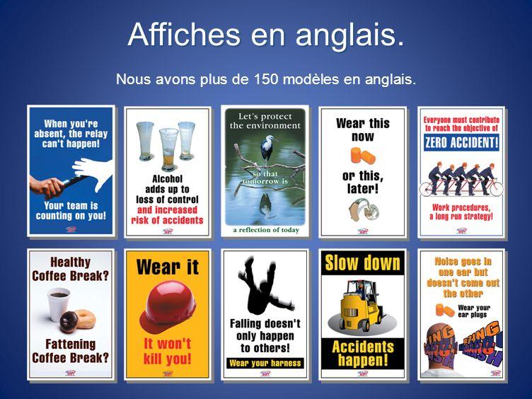 Affiches en anglais. Nous avons plus de 150 modèles en anglais.