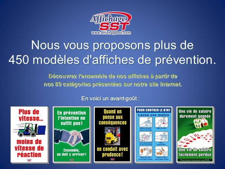 Nous vous proposons plus de 450 modèles d'affiches de prévention. Découvrez l'ensemble de nos affiches à partir de nos 89 catégories présentées sur no