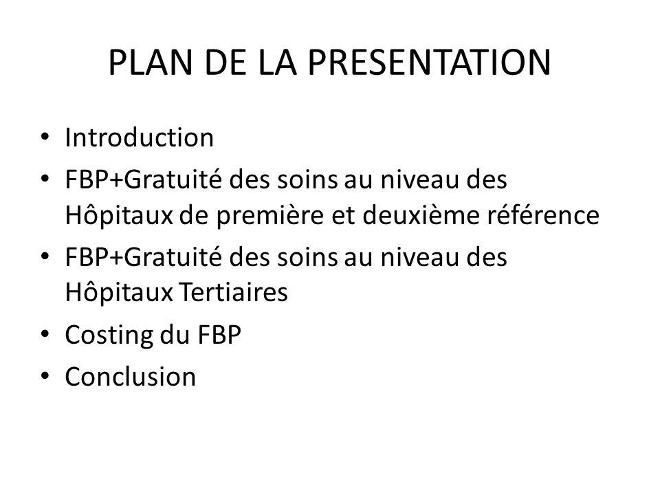 PLAN DE LA PRESENTATION Introduction FBP+Gratuité des soins au niveau des Hôpitaux de première et deuxième référence FBP+Gratuité des soins au niveau