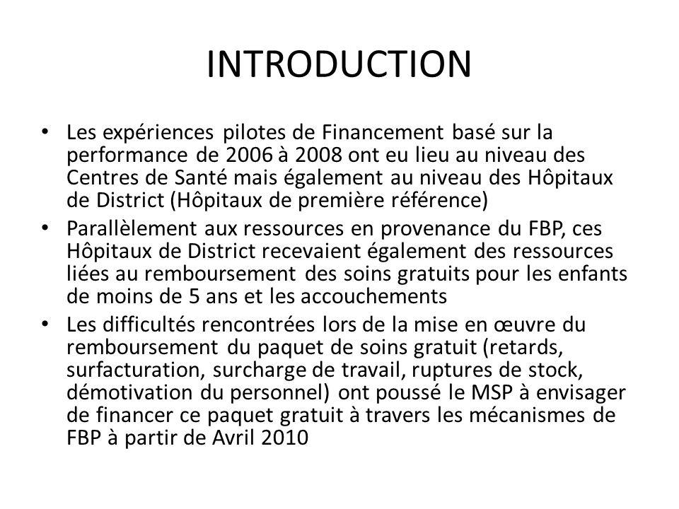 INTRODUCTION Les expériences pilotes de Financement basé sur la performance de 2006 à 2008 ont eu lieu au niveau des Centres de Santé mais également a