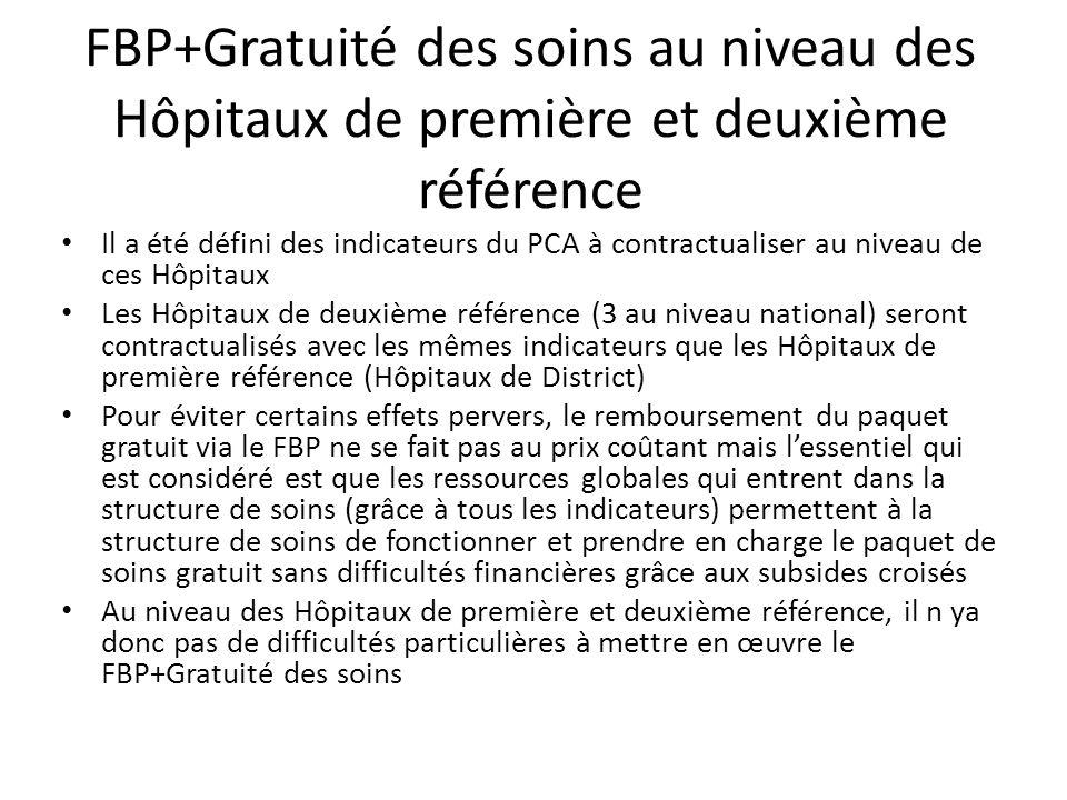 FBP+Gratuité des soins au niveau des Hôpitaux de première et deuxième référence Il a été défini des indicateurs du PCA à contractualiser au niveau de