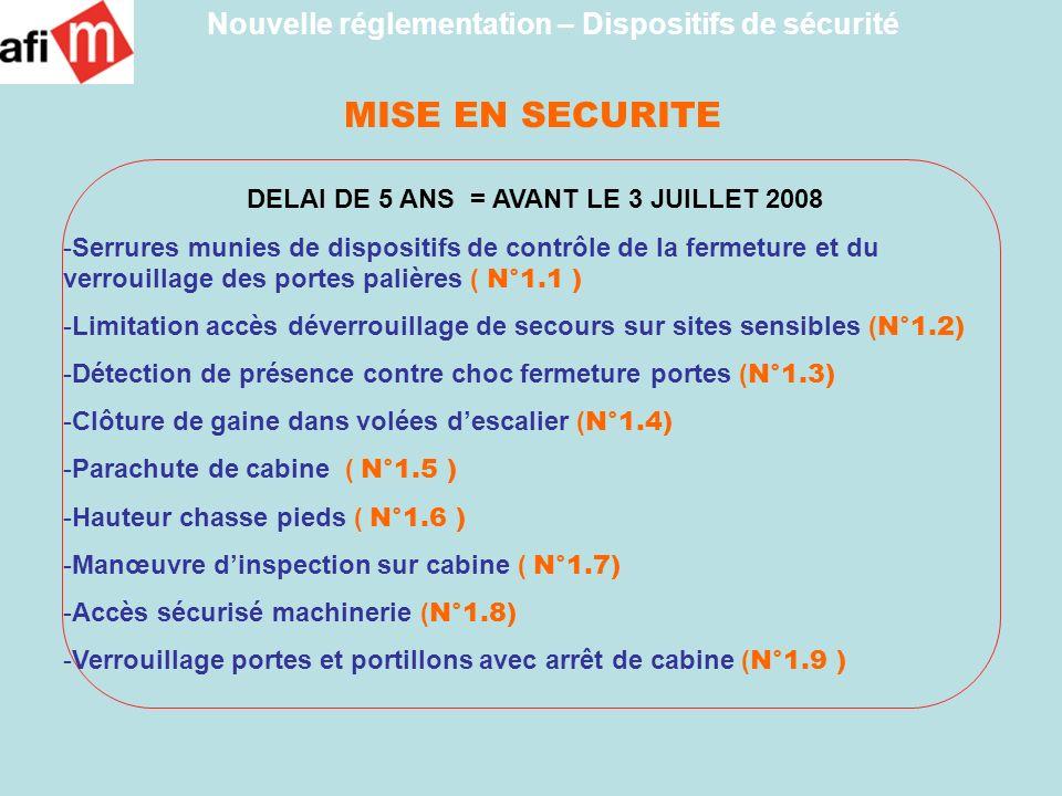 MISE EN SECURITE DELAI DE 5 ANS = AVANT LE 3 JUILLET 2008 -Serrures munies de dispositifs de contrôle de la fermeture et du verrouillage des portes pa