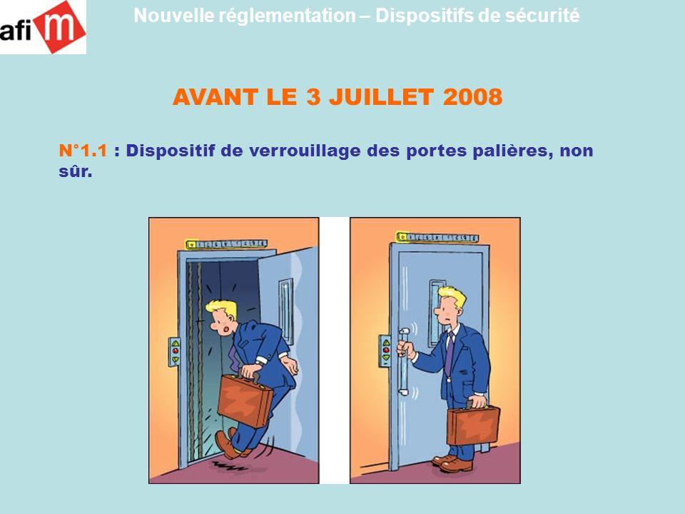 AVANT LE 3 JUILLET 2008 N°1.1 : Dispositif de verrouillage des portes palières, non sûr. Nouvelle réglementation – Dispositifs de sécurité