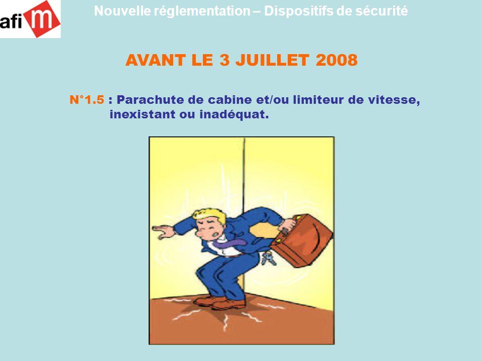 AVANT LE 3 JUILLET 2008 N°1.5 : Parachute de cabine et/ou limiteur de vitesse, inexistant ou inadéquat. Nouvelle réglementation – Dispositifs de sécur