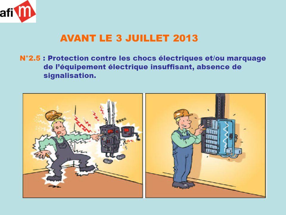 AVANT LE 3 JUILLET 2013 N°2.5 : Protection contre les chocs électriques et/ou marquage de léquipement électrique insuffisant, absence de signalisation