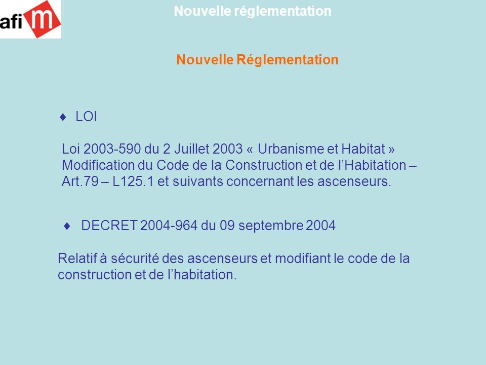 Nouvelle Réglementation 4 Arrêtés - Arrêté relatif aux travaux de sécurité à réaliser sur les installations dascenseurs - Arrêté relatif à lentretien des installations dascenseurs - Arrêté relatif aux contrôles périodiques à réaliser dans les installations dascenseurs - Arrêté relatif aux critères de compétences des personnes réalisant des contrôles techniques dans les installations dascenseurs Ces arrêtés ne sont pas encore publiés Nouvelle réglementation