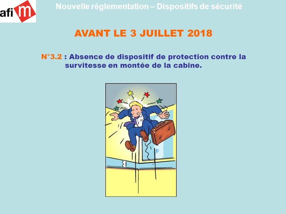 AVANT LE 3 JUILLET 2018 N°3.2 : Absence de dispositif de protection contre la survitesse en montée de la cabine. Nouvelle réglementation – Dispositifs