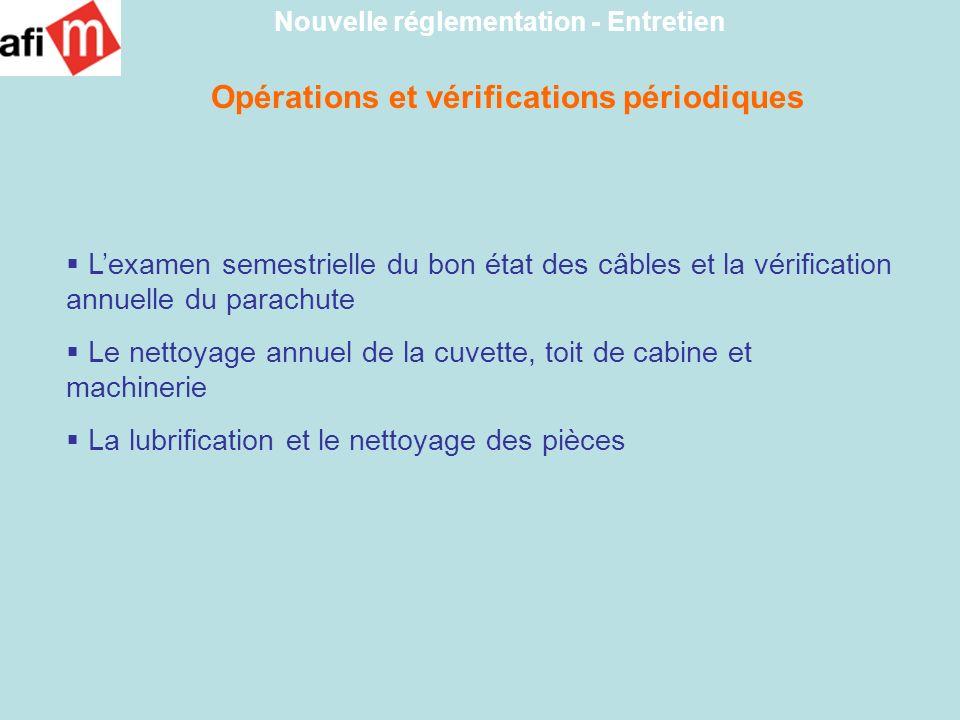 Opérations et vérifications périodiques Nouvelle réglementation - Entretien Lexamen semestrielle du bon état des câbles et la vérification annuelle du