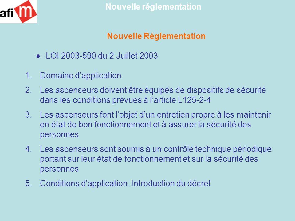 Nouvelle Réglementation LOI 2003-590 du 2 Juillet 2003 1.Domaine dapplication 2.Les ascenseurs doivent être équipés de dispositifs de sécurité dans le