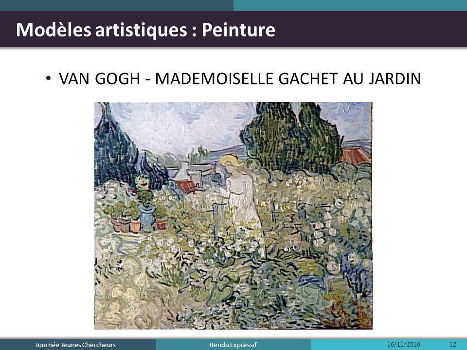 Rendu Expressif Modèles artistiques : Peinture VAN GOGH - MADEMOISELLE GACHET AU JARDIN 16/11/2010 Journée Jeunes Chercheurs 12