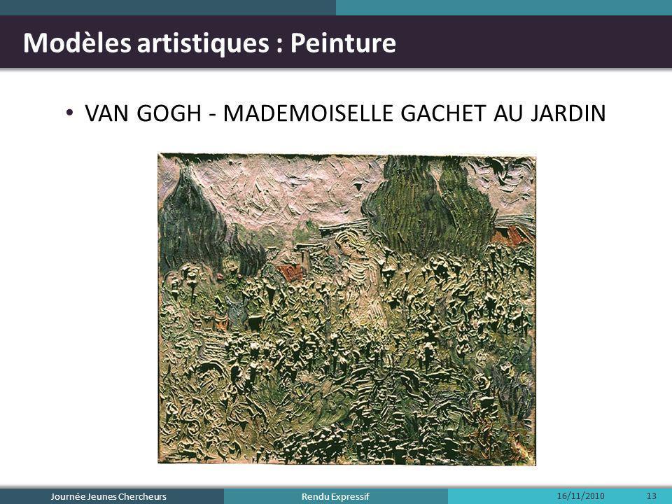Rendu Expressif Modèles artistiques : Peinture VAN GOGH - MADEMOISELLE GACHET AU JARDIN 16/11/2010 Journée Jeunes Chercheurs 13