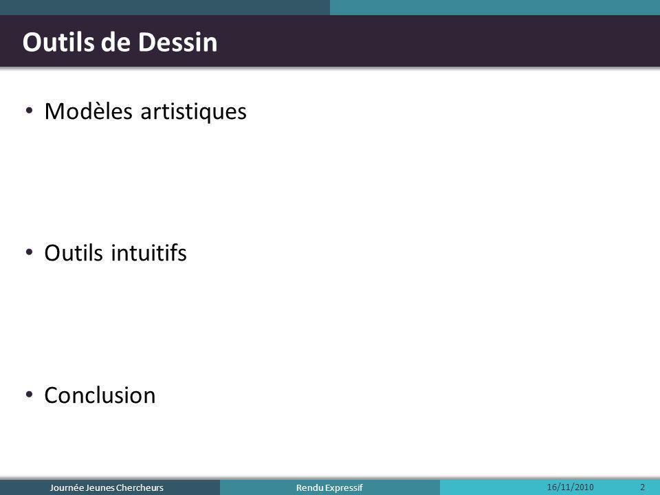 Rendu Expressif Outils de Dessin Modèles artistiques Outils intuitifs Conclusion 16/11/2010 Journée Jeunes Chercheurs 23