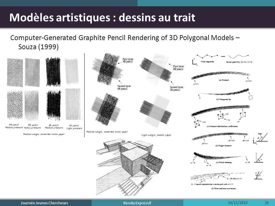 Rendu Expressif Modèles artistiques : dessins au trait Computer-Generated Graphite Pencil Rendering of 3D Polygonal Models – Souza (1999) 16/11/2010 J