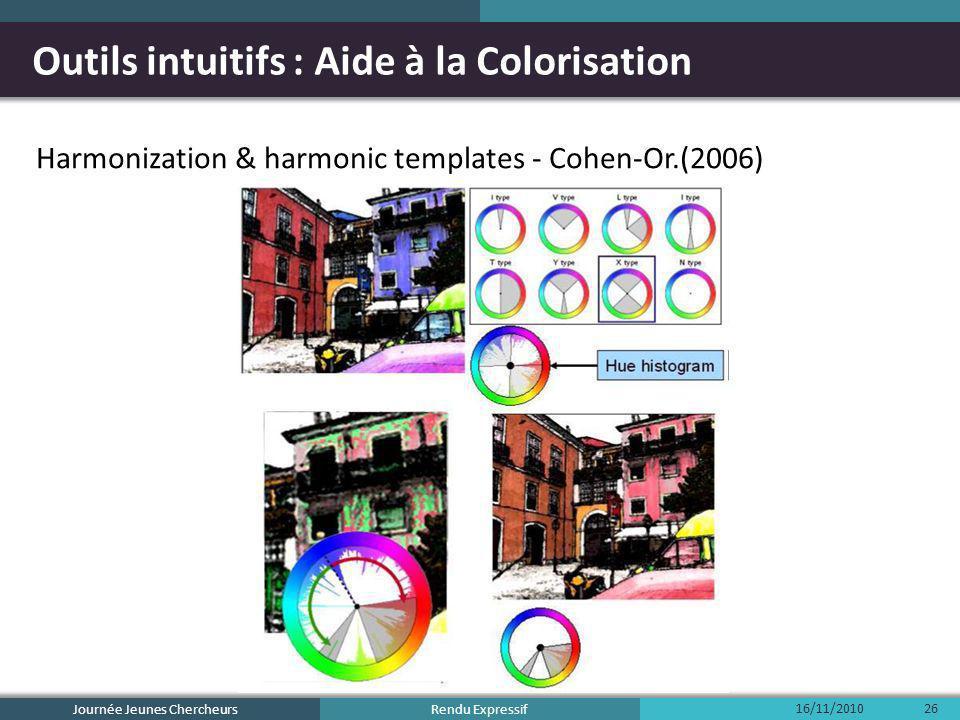 Rendu Expressif Outils intuitifs : Aide à la Colorisation Harmonization & harmonic templates - Cohen-Or.(2006) 16/11/2010 Journée Jeunes Chercheurs 26