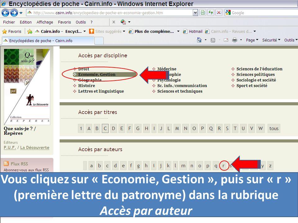 Vous cliquez sur « Economie, Gestion », puis sur « r » (première lettre du patronyme) dans la rubrique Accès par auteur