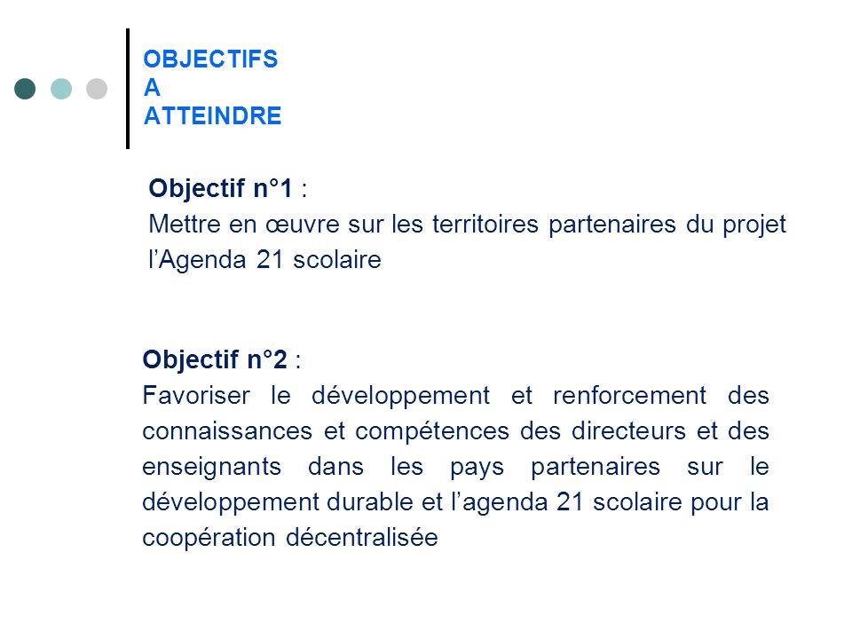 OBJECTIFS A ATTEINDRE Objectif n°1 : Mettre en œuvre sur les territoires partenaires du projet lAgenda 21 scolaire Objectif n°2 : Favoriser le dévelop