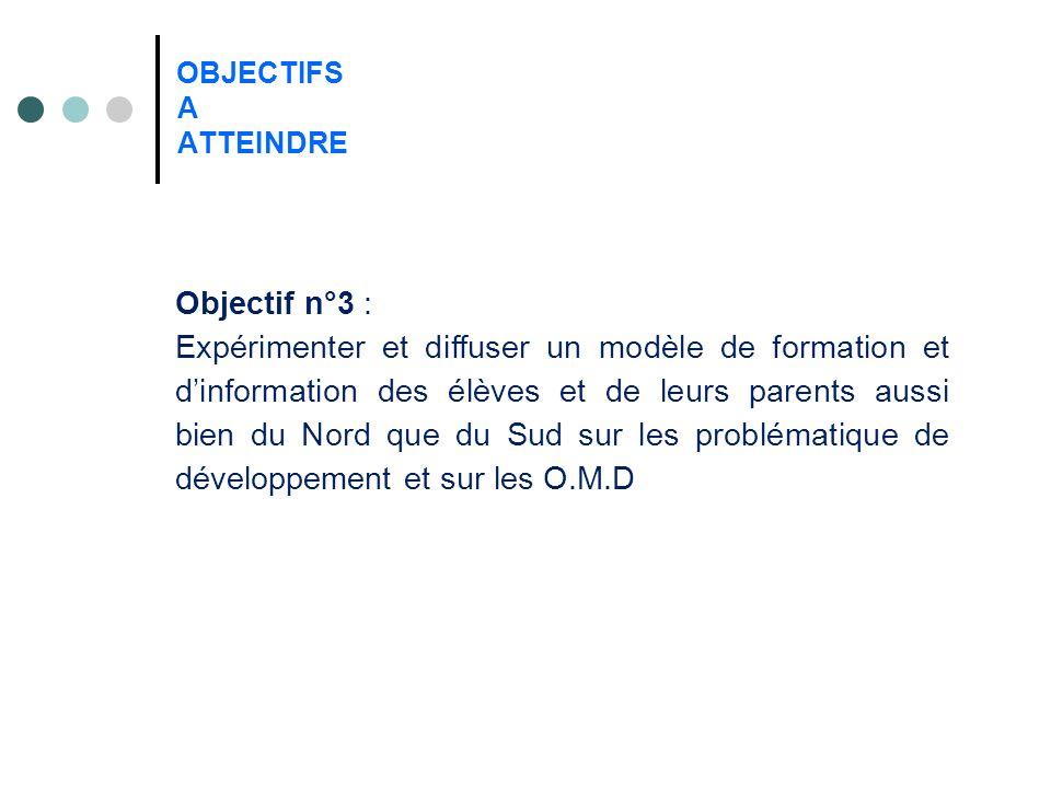 OBJECTIFS A ATTEINDRE Objectif n°3 : Expérimenter et diffuser un modèle de formation et dinformation des élèves et de leurs parents aussi bien du Nord que du Sud sur les problématique de développement et sur les O.M.D