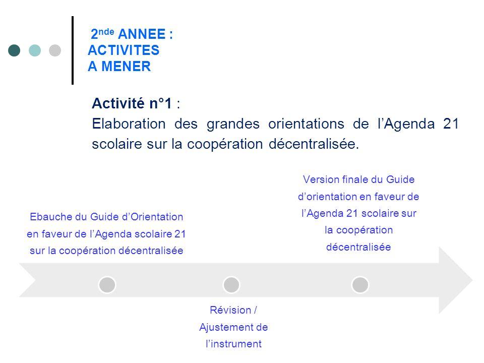 2 nde ANNEE : ACTIVITES A MENER Activité n°1 : Elaboration des grandes orientations de lAgenda 21 scolaire sur la coopération décentralisée. Ebauche d