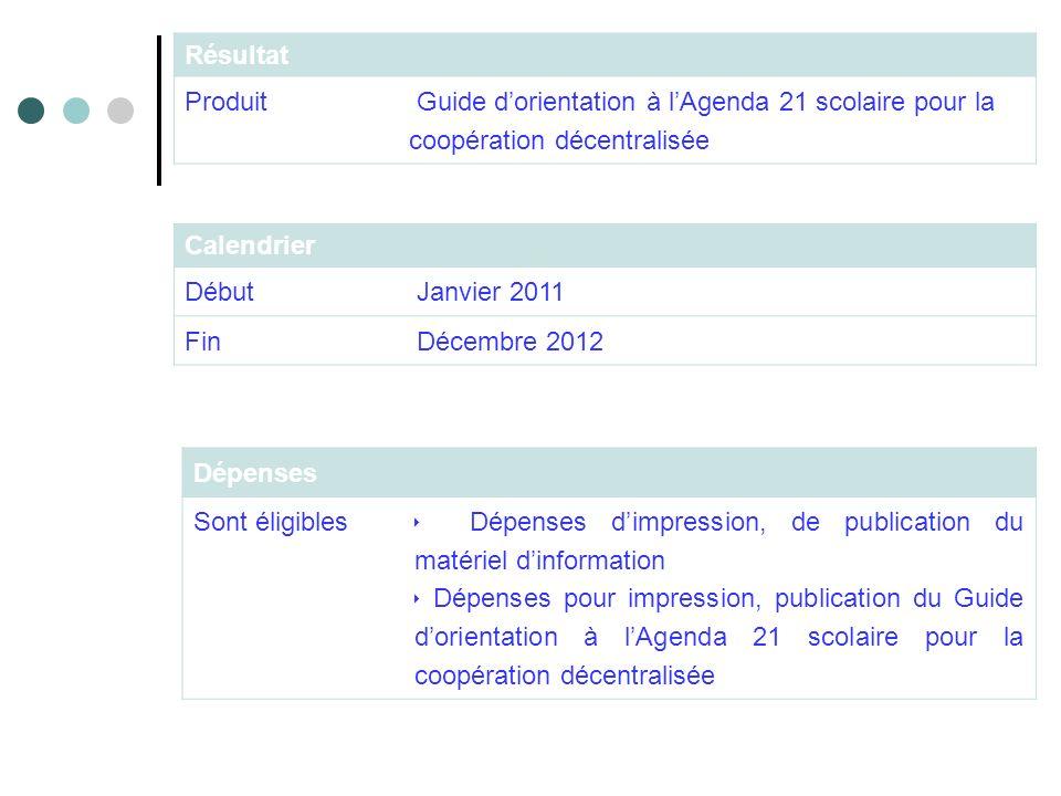 Dépenses Sont éligibles Dépenses dimpression, de publication du matériel dinformation Dépenses pour impression, publication du Guide dorientation à lA