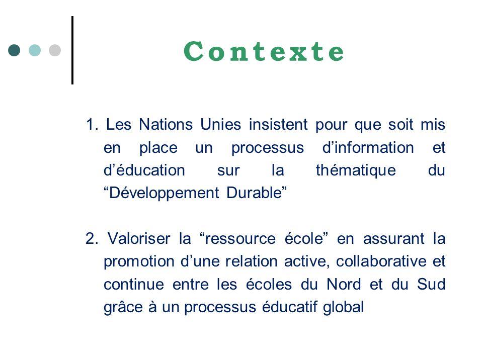 Contexte 1. Les Nations Unies insistent pour que soit mis en place un processus dinformation et déducation sur la thématique du Développement Durable
