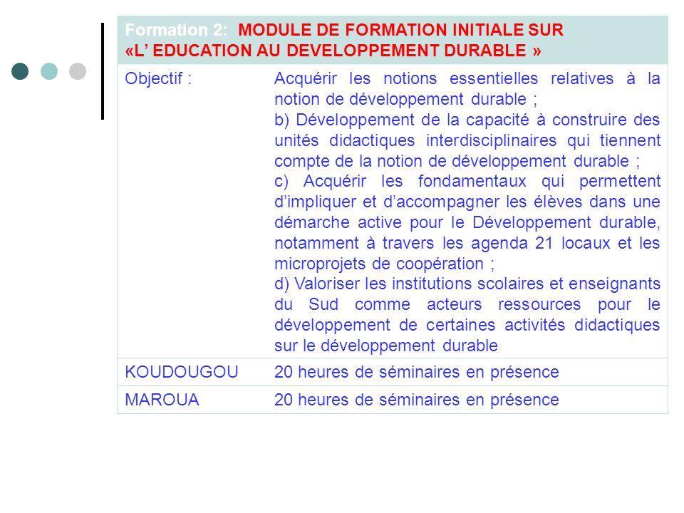 Formation 2: MODULE DE FORMATION INITIALE SUR «L EDUCATION AU DEVELOPPEMENT DURABLE » Objectif :Acquérir les notions essentielles relatives à la notio