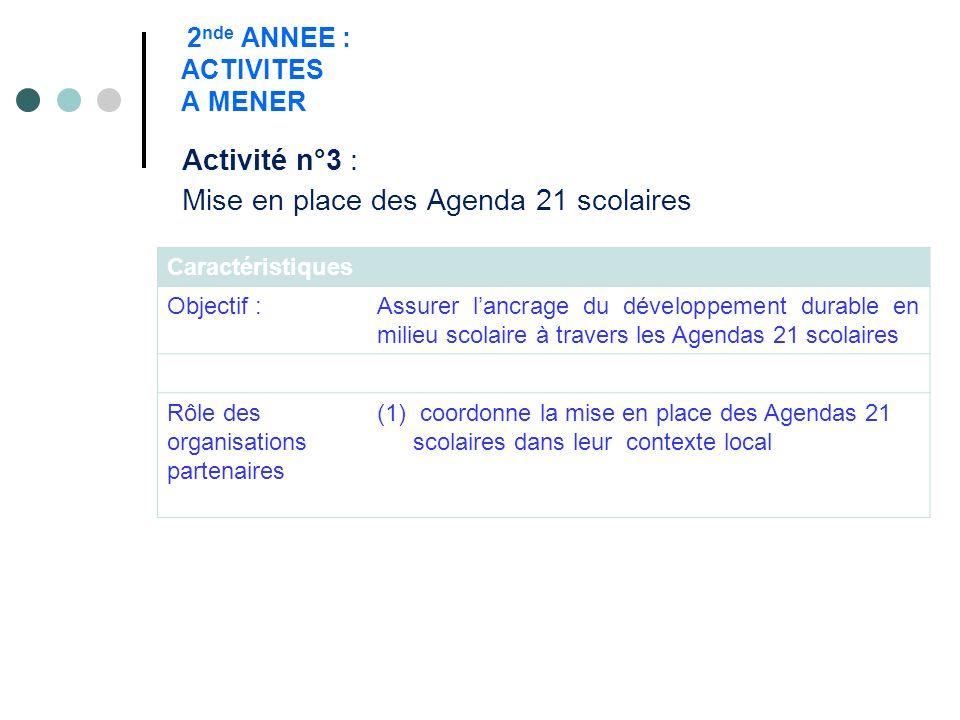 2 nde ANNEE : ACTIVITES A MENER Activité n°3 : Mise en place des Agenda 21 scolaires Caractéristiques Objectif :Assurer lancrage du développement dura