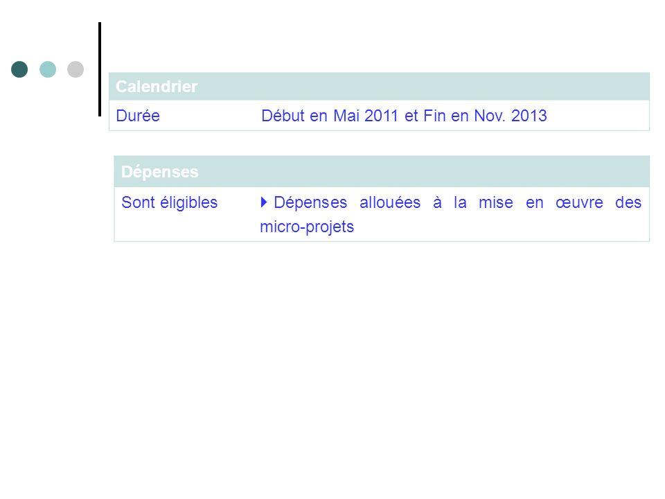 Dépenses Sont éligibles Dépenses allouées à la mise en œuvre des micro-projets Calendrier Durée Début en Mai 2011 et Fin en Nov. 2013