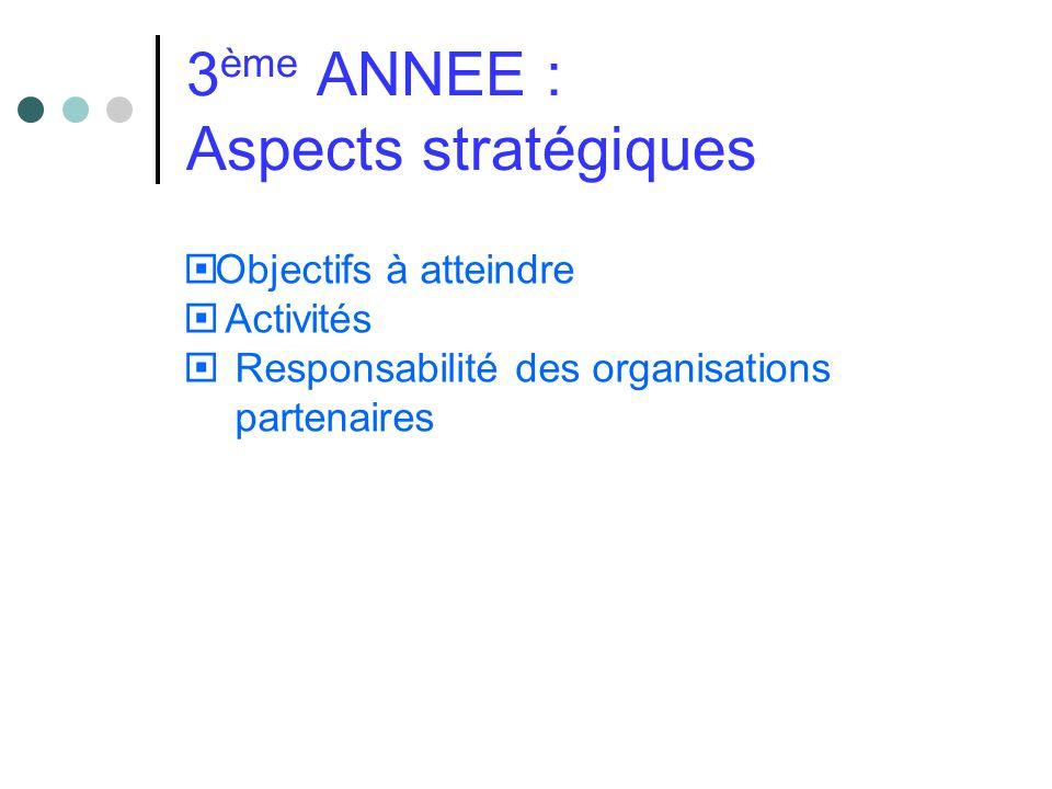 3 ème ANNEE : Aspects stratégiques Objectifs à atteindre Activités Responsabilité des organisations partenaires