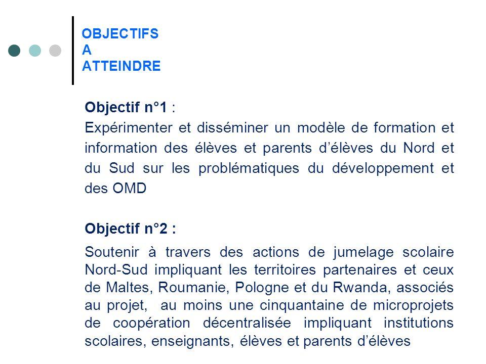 OBJECTIFS A ATTEINDRE Objectif n°1 : Expérimenter et disséminer un modèle de formation et information des élèves et parents délèves du Nord et du Sud